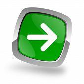 right arrow icon green button