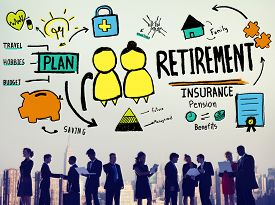 picture of retirement age  - Retirement Insurance Pension Saving Plan Benefits Travel Concept - JPG