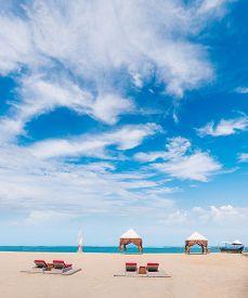 stock photo of canopy roof  - canopy on Kuta beach in Bali Indonesia - JPG