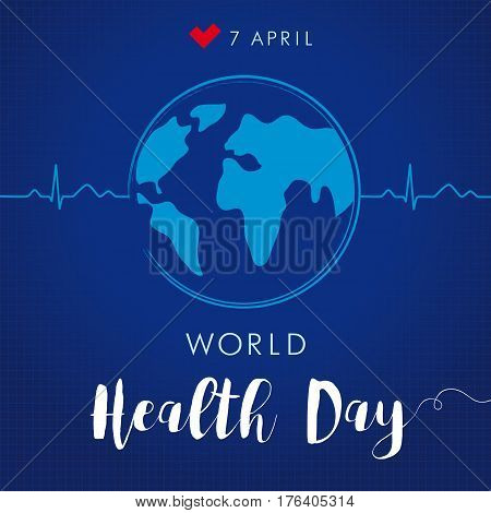 poster of World Health Day cardio globe navy blue. Globe and normal cardiogram as a concept for World Health Day. Poster for 7 April, World Health Day