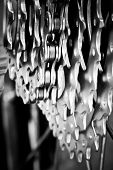 Rear mountain bike cassette with chain close-up, selective focus