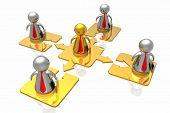 Goldene Leiter und Business-Team im weißen Hintergrund isoliert