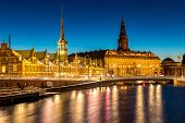 Copenhagen Cityscape at twilight night poster
