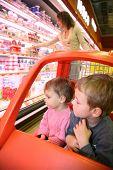 Children Mother  In Supermarket