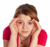 stock photo of blinders  - young girl isolated on a withe background using her haNds as blinders - JPG