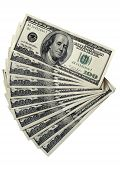stock photo of one hundred dollar bill  - Pack Of A 100 Dollar Bills on white - JPG