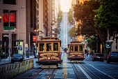 San Francisco Cable Cars On California Street At Sunrise, California, Usa poster
