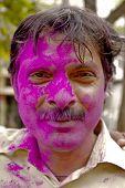 Man Celebrating Holi Festival