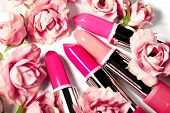 Spring Set Of Lipsticks In Pink Flowers. Beauty Cosmetic Collection. Fashion Trends In Cosmetics, Br poster