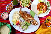 fried grouper fish mexican seafood chili sauces Veracruzana style