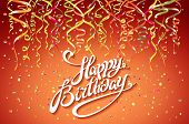 Happy Birthday Card Template, Confetti. Holiday Background. Top View. Sign Design With Colorful Conf poster