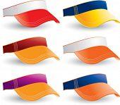 vários coloridas colegiais viseiras