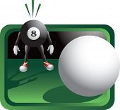 Cue ball going for eight ball