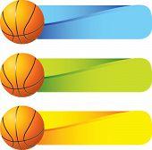 horizontal banner basketballs