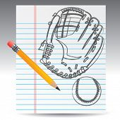 notebook paper and baseball glove