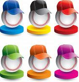 baseballs with hats on colored displays