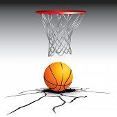 Постер, плакат: Треснувший пол с гол баскетбол