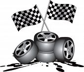 racing checker flags and tires on oil