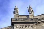 picture of gare  - Paris train station Gare Du Nord with elegant statues - JPG