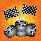 racing tires and checkered flags on starburst