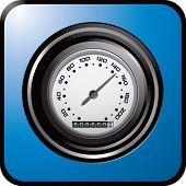 speedometer on blue web button