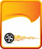 flaming tire on orange rip curl background