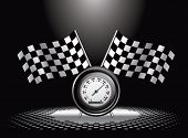 racing checkered flags and speedometer under spotlight
