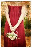 Постер, плакат: Гранж невеста в красном шелковое платье