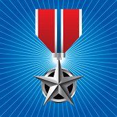 Medalha militar no ícone retrô azul