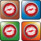 lip smooch on colored web buttons