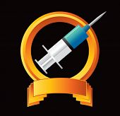 syringe on orange display
