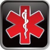 caduceus medical symbol on black web button