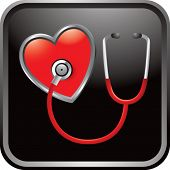 stethoscope on heart on glossy web button