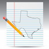 texas icon in fine thin line drawing
