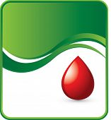 blood droplet on green wave background