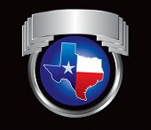 texas icon on crest shaped display