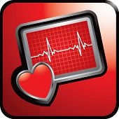 heart monitor on glossy web button