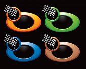 racing checkered flag on web button