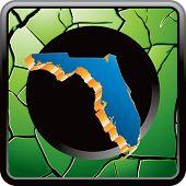 forma de estado de Florida no ícone verde rachada