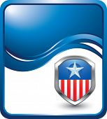 patriotic shield or badge on modern blue wave background