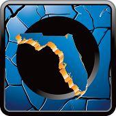 forma de estado de Florida no ícone azul web rachado