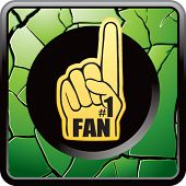 fan hand on green cracked web icon
