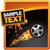 flaming racing tire on orange and black halftone banner