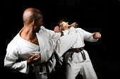 image of shotokan  - African American versus Caucasian karate fight - JPG