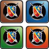 royal shield and sword on multicolored web icons