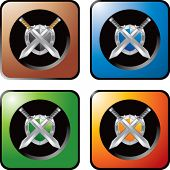 crossed swords and shield web buttons