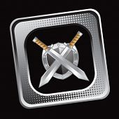 crossed swords and shield on tilted silver web icon