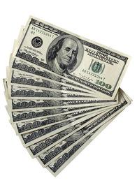 pic of one hundred dollar bill  - Pack Of A 100 Dollar Bills on white - JPG