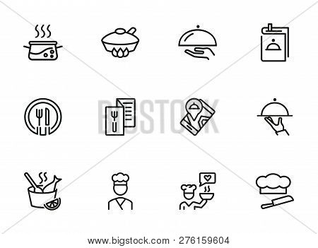 Restaurant Service Line Icon Set