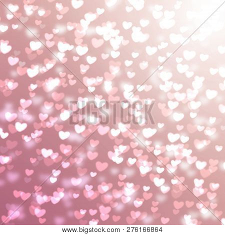poster of Pink Blurred Background With Hearts For Valentine's Day, Glitter, Holiday, Romance, Gradient